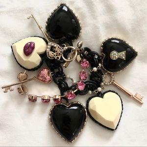 Betsey Johnson Hearts/Keys Marilyn Charm Bracelet
